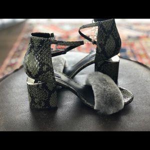 NW Alexander Wang Abby snakeskin sandal with fur